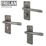 Frelan Hardware Belfry Hand Forged Pewter Lever on Backplate Door Handle