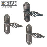 Frelan Hardware Cage Black Pewter Lever on Backplate Door Handle