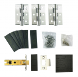 Grade 13 Stainless Steel Fire Rated Hinge 3 Pack and 76mm Tubular Latch Set with Intumescent Pads