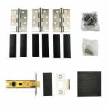 Grade 7 Stainless Steel Fire Rated Hinge 3 Pack and 64mm Tubular Latch Set with Intumescent Pads