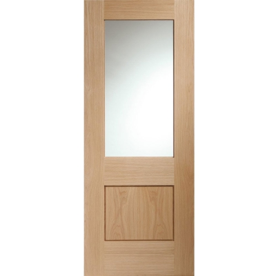 XL Joinery Internal Oak Piacenza Clear Glazed Panelled Door