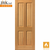 Internal Oak SHERWOOD Pre-Finished 4 Panel Fire Door FD30