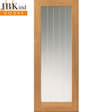 Internal Oak THAMES 1 Light Etched Line Clear Glazed Door