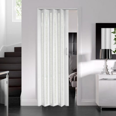 Internal White Gloss Glazed Concertina Folding Door (6mm Thick)