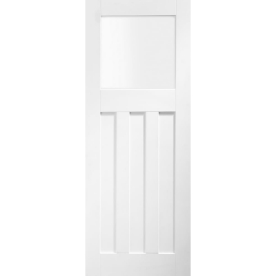 XL Joinery Internal White Primed DX 1930s Edwardian Style 4 Panel Obscure Glazed Door