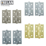 Frelan Hardware Pair of Heavy Duty Button Tip Butt Door Hinges