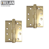 Frelan Hardware Pair of Polished Brass Ball Bearing Door Hinges