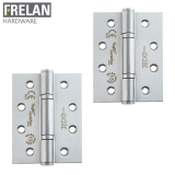 Frelan Hardware Pair of Grade 13 Fire Rated Stainless Steel Polymer Radius Bearing 3 Knuckle Door Hinges