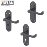 Frelan Hardware Turnberry Black Antique Lever on Backplate Door Handle