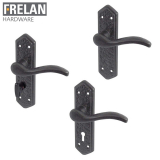 Frelan Hardware Wentworth Black Antique Lever on Backplate Door Handle