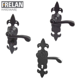 Frelan Hardware Fleur De Lys Black Antique Lever on Backplate Door Handle