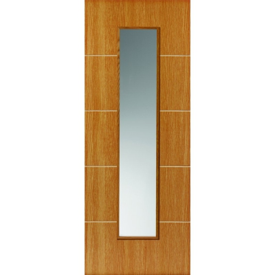 JB Kind Internal LOUVRE Pre-Finished Painted Oak Effect 1 Light Clear Glazed Door