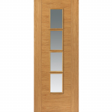 JB Kind Internal Oak BELA Pre-Finished 4 Light Clear Glazed Door