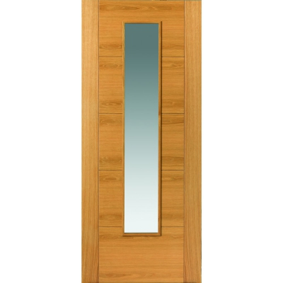 JB Kind Internal Oak EMRAL Pre-Finished 1 Light Clear Glazed Door