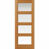 JB Kind Internal Oak HUMBER 4 Light Clear Glazed Door