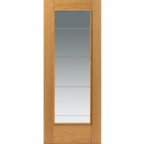 JB Kind Internal Oak MEDINA Pre-Finished 1 Light Clear Diamond Cut Glazed Door