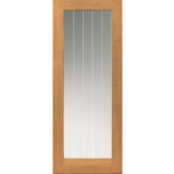 JB Kind Internal Oak THAMES 1 Light Etched Line Clear Glazed Door