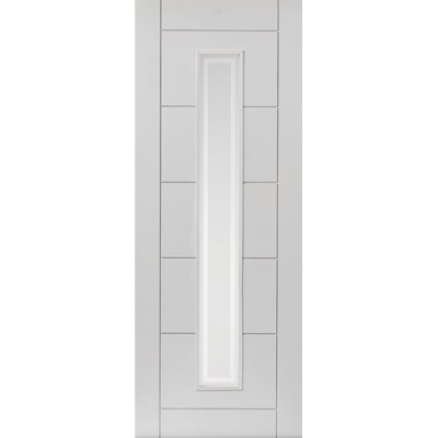 JB Kind Internal White Primed BARBICAN 1 Light Etched Glazed Fire Door FD30