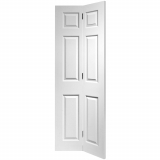 JB Kind Internal White Primed Colonist 6 Panel Textured Moulded Bi-Fold Door