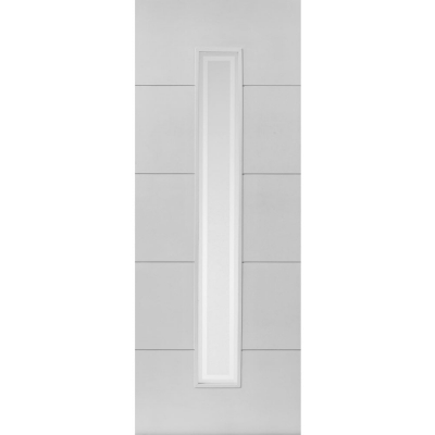 JB Kind Internal White Primed DOMINION 1 Light Etched Glazed Fire Door FD30
