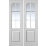 "JB Kind Internal White Primed Grained Classique 6 Light Glazed Door Pair 48"" x 78"""