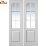 JB Kind Internal White Primed Grained Classique 6 Light Glazed Door Pair