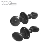 Jedo Black Antique Cast Iron Rim Door Knob Set