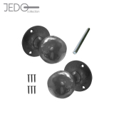 Jedo Black Iron Ball Mortice Door Knob Pair