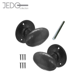 Jedo Black Iron Oval Mortice Door Knob Pair