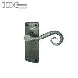 Jedo Chester Hand Forged Pewter Lever on Backplate Door Handle Pair