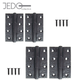 Jedo Pair of Antique Black Butt Hinges (4mm Thick)