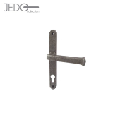 Jedo Pewter Antique Lever on Backplate Lockset Door Handle