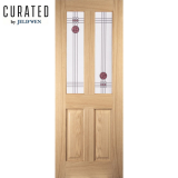 JELD-WEN Curated Oak Interior Oregon Mackintosh 2 Light Glazed Oak Door