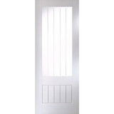 JELD-WEN Curated Simplicity White Primed Interior Cottage Vertical Etch Glazed Door