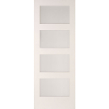 JELD-WEN Curated Simplicity White Primed Interior Shaker 4 Light Clear Glazed Door