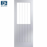 Jeld-Wen Newark White Primed Vertical Etch Glazed Interior Door