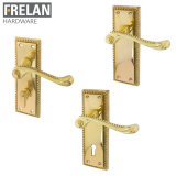 Frelan Hardware Georgian Suite Polished Brass Lever on Plate Door Handle