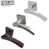 Frelan Hardware Kubus Internal Curved Door Handle Pair Lever on Square Rose