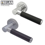 Frelan Hardware Ascot Leather Internal Curved Door Handle Pair Lever on Rose