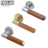 Frelan Hardware Havanna Light Wood Internal Curved Door Handle Pair Lever on Rose
