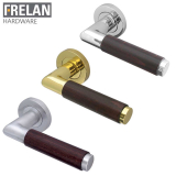Frelan Hardware Cuba Dark Wood Internal Curved Door Handle Pair Lever on Rose