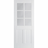LPD Internal White Canterbury Primed 6 Panelled Glazed Door