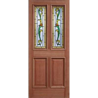External Hardwood CHELSEA 2 Light Decorative Double Glazed Door M&T