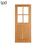 External Oak COTTAGE 4 Light Clear Double Glazed Door D&G