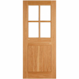 LPD External Oak COTTAGE 4 Light Clear Double Glazed Door D&G