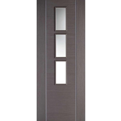 LPD Internal ALCARAZ Chocolate Grey Pre-Finished Clear Glazed Door