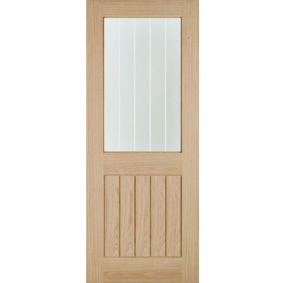 LPD Internal Oak BELIZE 1 Light Silkscreen Glazed Door