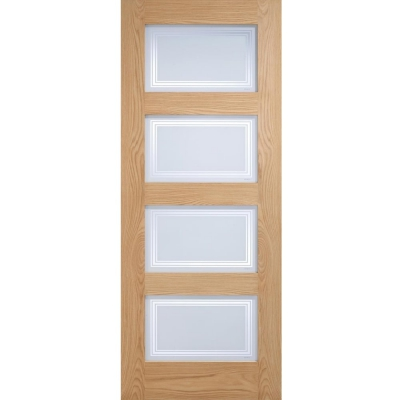 LPD Internal Oak CONTEMPORARY 4 Light Frosted Clear Lines Glazed Door