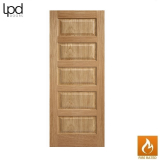 Internal Oak CONTEMPORARY Pre-Finished 5 Panel Fire Door FD30