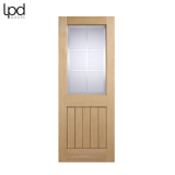 Internal Oak MEXICANO VALENCIA Clear Cut Frosted Bevelled Glazed Door